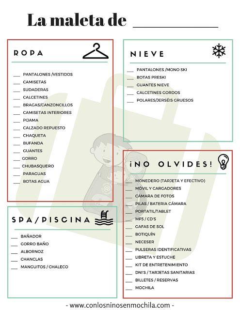 Lista imprimible para hacer la maleta