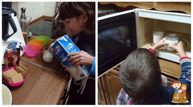 Tarta individual de chocolate al microondas y galletas receta cocinar con niños