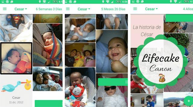 lifecake canon linea de tiempo fotos niños app movil