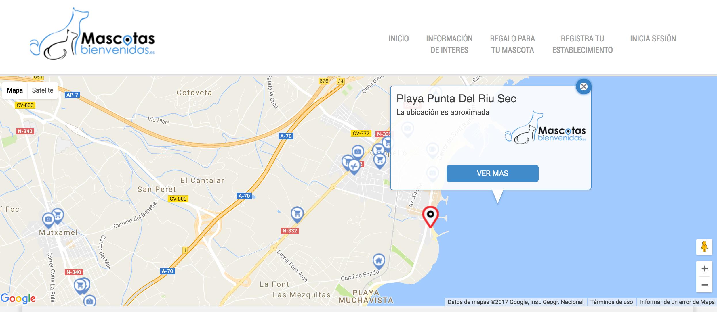 Mapa de El Campello con sitios pet friendly en España
