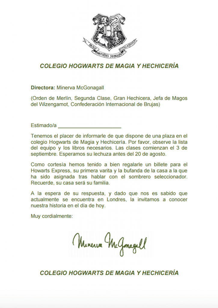 Carta de admisión a Howards Regalos para fans de Harry Potter