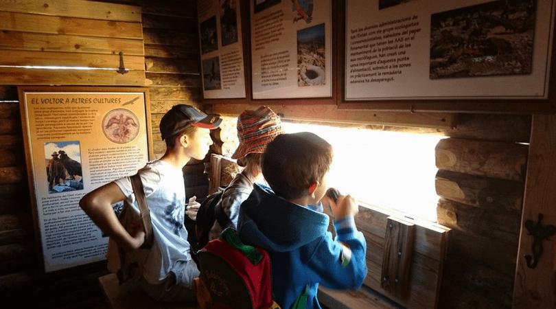 planes con niños en Alcoy con los niños en la mochila buitrera