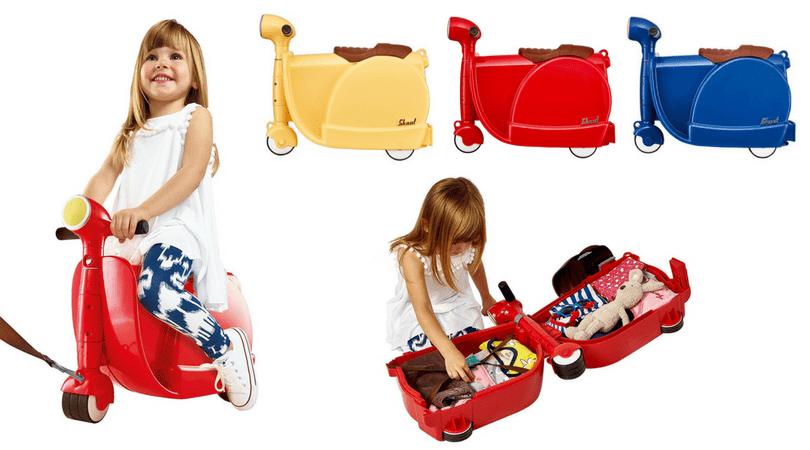 maletas correpasillos skoot Kids ride on con los ninos en la mochila
