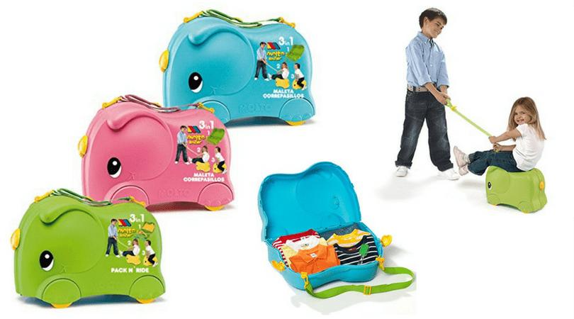 maletas correpasillos molto elefante con los ninos en la mochila