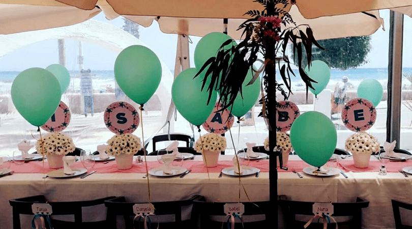 comuniones y eventos con lluvia de purpurina mesa convite ninosenmochila