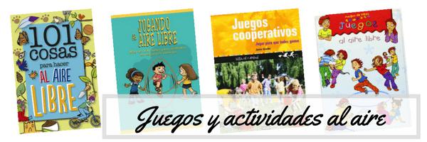 libros de juegos al aire libre con los niños en la mochila
